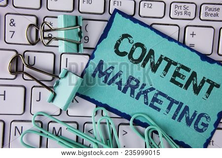 Handwriting Text Content Marketing. Concept Meaning Digital Marketing Strategy Files Sharing Of Onli
