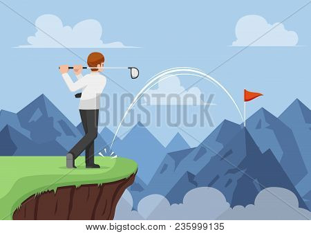 Businessman Hit Golf And Making A Hole In One Across The Mountain. Business Success And Effective Le