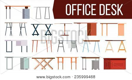 Office Desk Set Vector. Home Table. Office Creative Modern Desk. Interior Table Workplace Design Ele