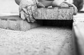 Greyscale image of workman laying a paving brick placing it on the sand foundation. poster