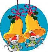 Two little mice swinging on the clappers of Christmas bells poster