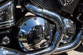 Shiny chrome motorcycle engine block Chopper. For real motorcycle lovers. poster