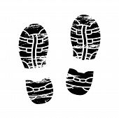 Footprints and shoeprints icons in black and white showing bare feet and the imprint of the soles with the differing patterns of male and female footwear with shoes boots. poster