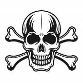 Skull with crossbones front view vector detailed illustration in monochrome vintage style on white background poster