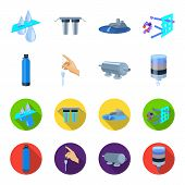 Purification, water, filter, filtration .Water filtration system set collection icons in cartoon, flat style vector symbol stock illustration . poster