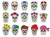 Skull vector mexican flowered dead head and flowering crossbones and human tattoo illustration thick-skulled set of horror symbol of death or evil in Mexico isolated on white background. poster
