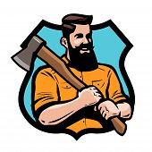 sawmill, joinery lumberjack holding an axe his hands poster