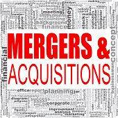 Mergers and acquisitions word cloud. Creative illustration of idea word lettering typography . 3D rendering. poster