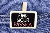 Conceptual hand writing showing Find Your Passion. Business photo text No more unemployment find challenging dream career written Wood Piece the Jeans background. poster