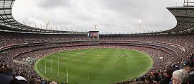 Melbourne, Australia - April 25, 2015: Panoramic View Of Melbourne Cricket Ground On Anzac Day 2015