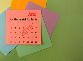 Image Of Calendar For June 2018 On Green  Closeup