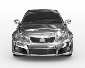 Car Isolated On White - Chrome, Tinted Glass - Front View - 3d Rendering