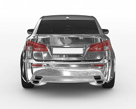 Car Isolated On White - Chrome, Tinted Glass - Back View - 3d Rendering