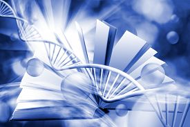 Image Of Book On Dna Chain Background. 3d Illustration