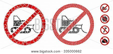 No Bulldozer Mosaic Of Rugged Parts In Different Sizes And Color Tones, Based On No Bulldozer Icon.