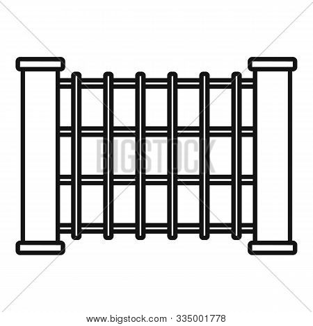 Stone Tower Fence Icon. Outline Stone Tower Fence Vector Icon For Web Design Isolated On White Backg