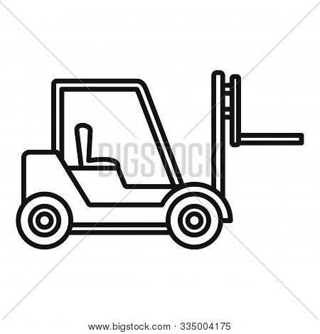 Warehouse Forklift Icon. Outline Warehouse Forklift Vector Icon For Web Design Isolated On White Bac