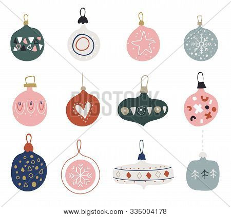 Christmas Balls. Set Of Hand Drawn Christmas Baubles. Doodles And Sketches Vector Illustration. Deco