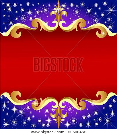 Background With Gold(en) Pattern On Background Of The Stars