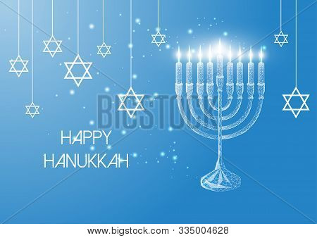 Happy Hanukkah Greeting Card With Glowing Low Poly Menorah And Burning Candles On Blue Background.