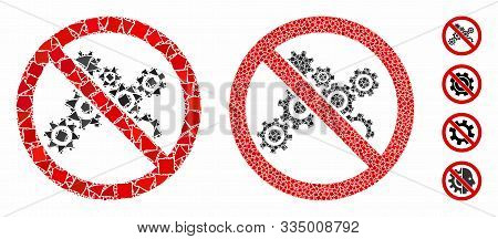 No Gears Mosaic Of Trembly Parts In Various Sizes And Color Tinges, Based On No Gears Icon. Vector T