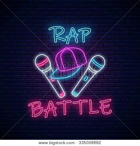 Rap Battle Neon Sign With Two Microphones And Baseball Cap. Emblem Of Hip-hop Music. Rap Contest Adv