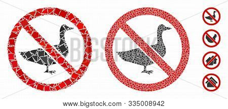 No Goose Mosaic Of Uneven Items In Various Sizes And Color Hues, Based On No Goose Icon. Vector Trem