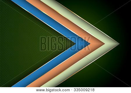 Polygonal Arrow With Gold Triangle Edge Lines Banner Vector Design. Royal Banner Background Template