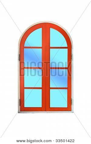 Arch wooden window on white background.