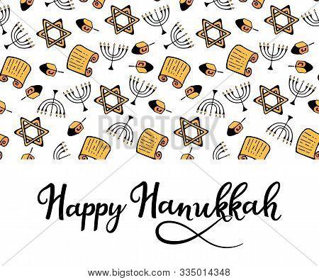 Happy Hanukkah. Chanukah Traditional Attributes Of The Menorah, Dreidel, Torah In Doodle Style. Roun