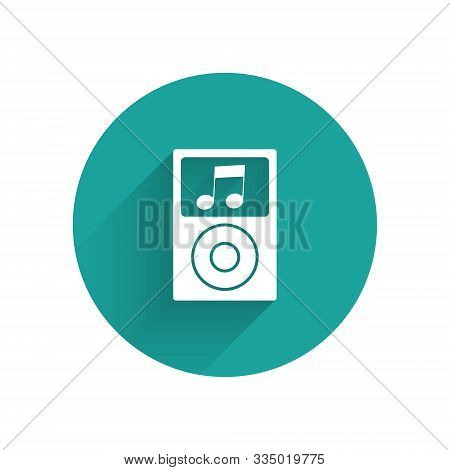 White Music Player Icon Isolated With Long Shadow. Portable Music Device. Green Circle Button. Vecto