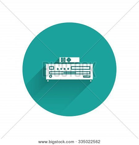 White Music Cd Player Icon Isolated With Long Shadow. Portable Music Device. Green Circle Button. Ve