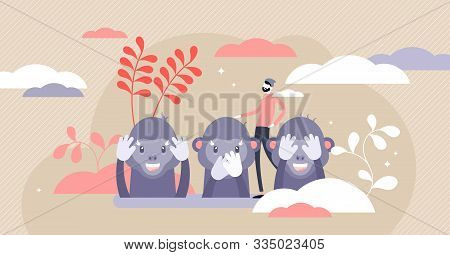 Monkey See, Monkey Do Or Three Wise Monkeys Concept, Flat Tiny Person Vector Illustration. Japanese