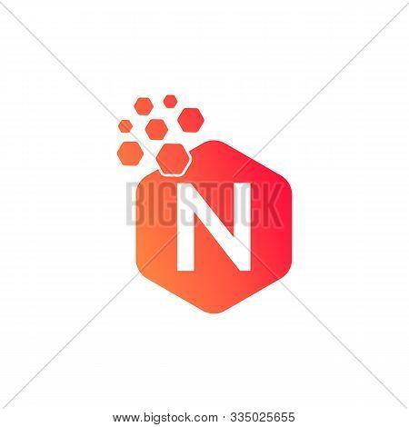 N Dots Logo Design Template. Hexagon N Icon. N Letter Logo Vector. Hexagon Logo, N Letter, N Dots, N