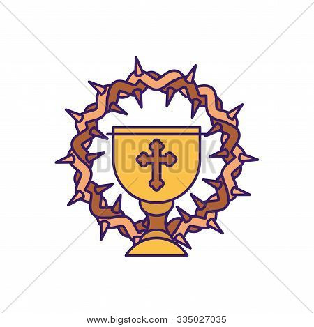 Cup With Crown Design, Religion Christianity God Faith Spirituality Belief Pray And Hope Theme Vecto