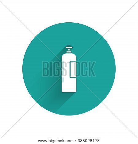 White Industrial Gas Cylinder Tank For All Inert And Mixed Inert Gases Icon Isolated With Long Shado
