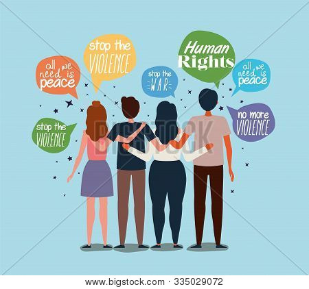 People Protesting Design, Human Rights Peace Freedom International Help Social Law And Equality Them