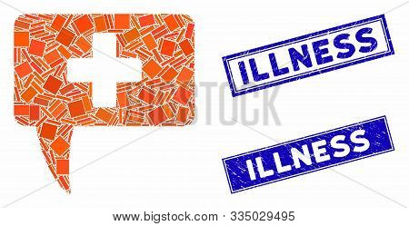 Mosaic Medical Answer Pictogram And Rectangle Seal Stamps. Flat Vector Medical Answer Mosaic Pictogr