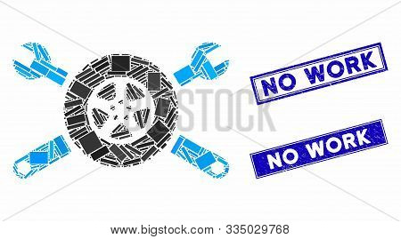 Mosaic Tire Service Wrenches Pictogram And Rectangular Rubber Prints. Flat Vector Tire Service Wrenc