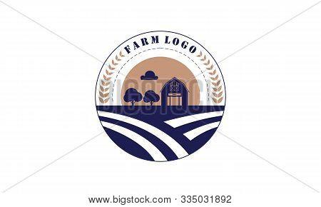 Flat Farm House Logo Vector. Illustration Logo