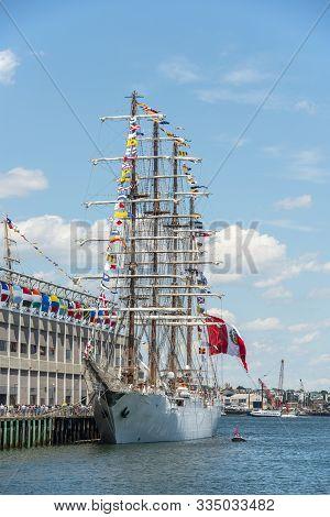Boston, Usa - Jun. 21, 2017: Bap Union, A Sail Training Ship Of Peruvian Navy, Was Docked At Boston