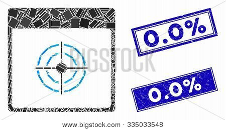 Mosaic Bullseye Calendar Page Icon And Rectangle Seal Stamps. Flat Vector Bullseye Calendar Page Mos
