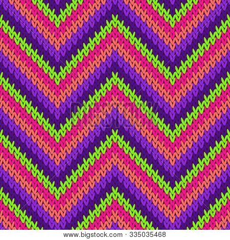 Handicraft Zigzag Chevron Stripes Knitted Texture Geometric Vector Seamless. Plaid Stockinet Ornamen