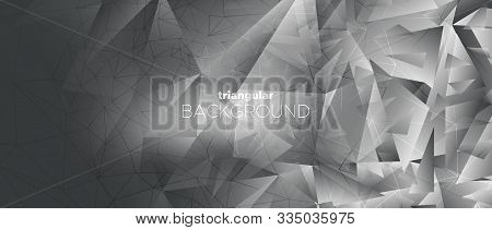 Business Minimal Poster. Graphic Polygon Wallpaper. Foil Geometry Texture. 3d Modern Landing Page. M