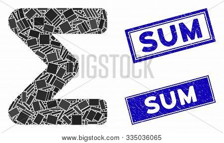 Mosaic Sum Icon And Rectangle Seal Stamps. Flat Vector Sum Mosaic Icon Of Scattered Rotated Rectangl