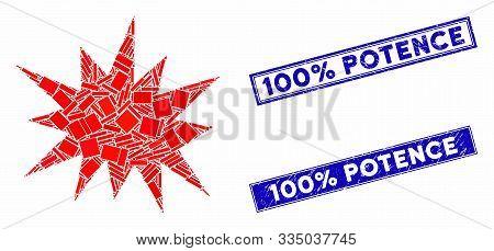 Mosaic Bang Pictogram And Rectangle Watermarks. Flat Vector Bang Mosaic Pictogram Of Scattered Rotat
