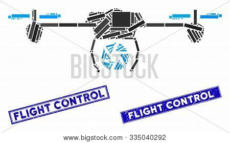 Mosaic Shutter Spy Airdrone Pictogram And Rectangular Seal Stamps. Flat Vector Shutter Spy Airdrone