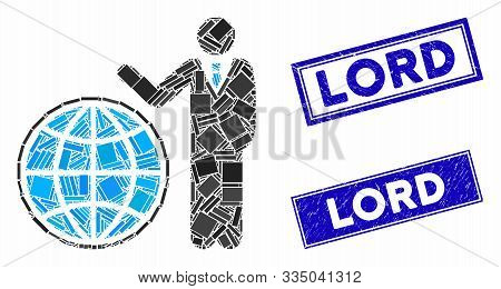 Mosaic Planetary Manager Pictogram And Rectangular Rubber Prints. Flat Vector Planetary Manager Mosa