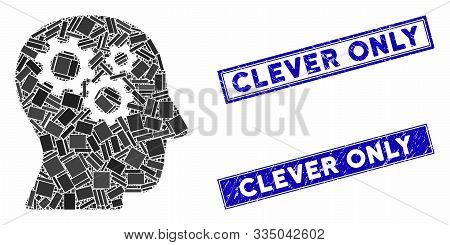 Mosaic Intellect Gears Icon And Rectangular Seal Stamps. Flat Vector Intellect Gears Mosaic Icon Of