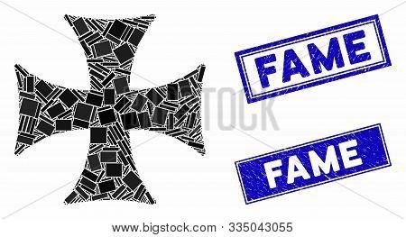 Mosaic Maltese Cross Pictogram And Rectangular Seal Stamps. Flat Vector Maltese Cross Mosaic Pictogr